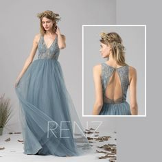 Bridesmaid Dress Dusty Blue Tulle Dress Wedding Dress,Illusion V Neck Maxi Dress,Open Back Lace Party Dress,Sleeveless Evening Dress(LS391) by RenzBridal on Etsy https://www.etsy.com/listing/566046065/bridesmaid-dress-dusty-blue-tulle-dress