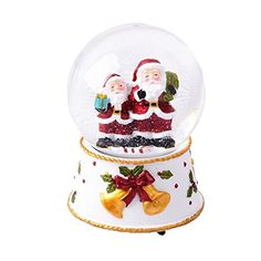 Lightahead Christmas Snow Water Globe with Falling Snowflakes- music playing Water ball Table Top Decoration in Polyresin (Santa)