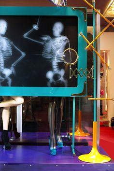 Fashion Installation: Christian Louboutin X-Ray Window Displays Fashion Window Display, Window Display Retail, Window Display Design, Retail Windows, Store Windows, Display Windows, Christian Louboutin, Visual Merchandising, Marketing Visual