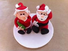 Made to order Mr and Mrs Claus Christmas by CaptureClayToppers, £20.00