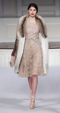 lace dress, fur coat fab