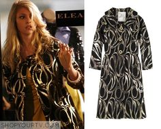 Jenny Humphrey (Taylor Momsen) wears this black and gold swirl print coat in this episode of Gossip Girl. It is the Milly Peter Pan Collar Coat. Buy it HERE