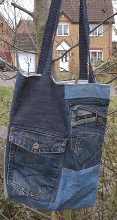 Bag from old jeans - sewingforutange.blogspot.com
