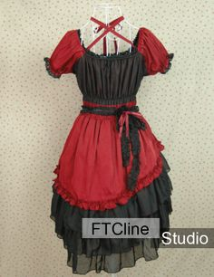 Lolita Dress Red And Black Short Sleeves Ruched #lolita #dress