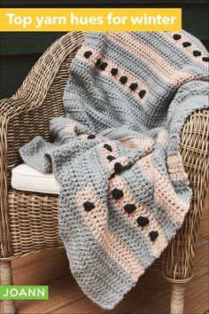 Add a touch of modern to your home with this crocheted geometric lapghan. Use it as a soft blanket or it could even work as a stylish accent rug! Crochet Baby, Free Crochet, Knit Crochet, Crochet Throws, Chrochet, Crochet Blanket Patterns, Crochet Stitches, Knitting Patterns, Crochet Afghans