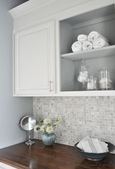 taller crown molding upper cabinet and paint is Tranquility by Benjamin Laundry Room Storage, Laundry In Bathroom, Hall Bathroom, Bathroom Ideas, Bath Remodel, Kitchen Remodel, Interior Exterior, Interior Design, Painting Bathroom Cabinets
