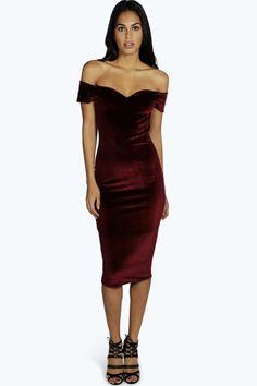 Naya Velvet Off The Shoulder Midi Dress