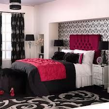 red black and white bedroom ideas - i dnt like red but i was given a veintage bed that has a red headboard and bench so im working with it