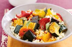 Brown rice and harissa roasted vegetable salad