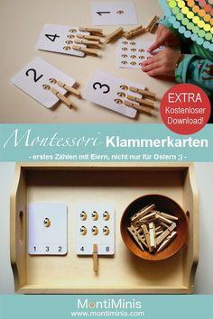 Montessori-Klammerkarten – Eier zählen – nicht nur für Ostern eine schöne Sache! Zum ersten Zählen und Zahlen erkennen. Montessori selbstgemacht.