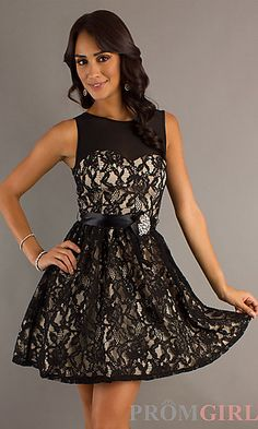 Short High Neck Lace Dress at PromGirl.com