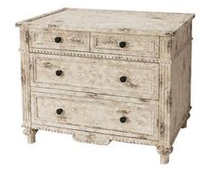 Heavily Distressed Rustic Painted Wood Dresser with Four Drawers Color: Old White