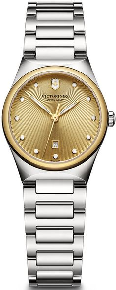 Victorinox Swiss Army Watch Victoria #bezel-fixed #bracelet-strap-steel #brand-victorinox-swiss-army #case-material-steel #case-width-28mm #classic #date-yes #delivery-timescale-call-us #dial-colour-gold #gender-ladies #movement-quartz-battery #official-stockist-for-victorinox-swiss-army-watches #packaging-victorinox-swiss-army-watch-packaging #style-dress #subcat-victoria #supplier-model-no-241637 #warranty-victorinox-swiss-army-official-3-year-guarantee #water-resistant-100m