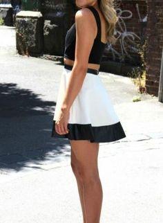 White Mini Skirt - White Skater Skirt with Black | UsTrendy