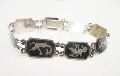 Sterling Link  Bracelet Silver Siam  Neillo Enamel