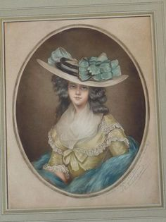 Antique Signed 20th c. MEZZOTINT SAMUEL ARLENT EDWARDS Framed Fancy LADY w/ Hat #Vintage