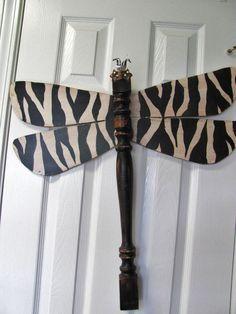 Table Leg Dragonfly Wall Art- Distressed Black and White Zebra Animal Print