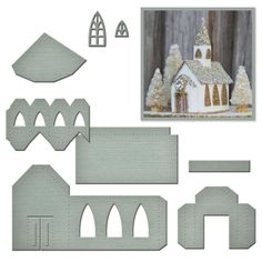 """Spellbinders - A Gilded Life Die - Beacon St. Chapel. Set of 7 dies used to create a 3"""" x 2-7/8"""" x 3-3/4"""" tall church ornament"""