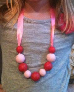 Valentine's Day Pink and Red Necklace by dplgraham on Etsy, $15.00
