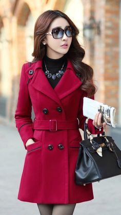 03d80c46d0b Slim Long Sleeves Button Wool Length Coat With Belt