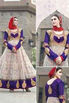 Designer Blue, Cream Net Designer Anarkali Suit