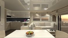 """A new Italian boat company Overblue might have one of the most interesting new designs in boating I've seen in a long time. It is a cross between a houseboat and yacht. At first glance the """"boxiness"""" of the design might . Floating House, Yacht Design, Ocean, Interior, Houseboats, News, Home, Good Afternoon, Boats"""