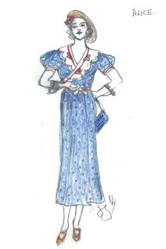 A costume sketch from You Can't Take It with You by Tony-nominated designer Jane Greenwood.