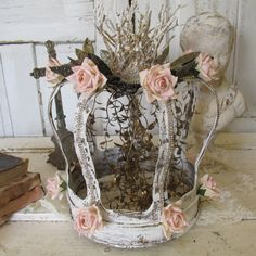 Huge metal French crown handmade ornate home decor shabby cottage pink roses and fancy embellishments. by Anita Spero by anitasperodesign. Explore more products on http://anitasperodesign.etsy.com