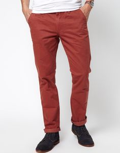 $16, Burgundy Chinos: Selected Slim Chinos. Sold by Asos. Click for more info: http://lookastic.com/men/shop_items/148028/redirect