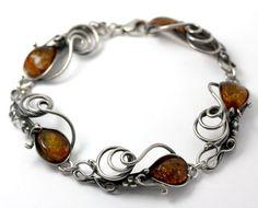 Vintage Baltic Amber Blossom and Grape Filigree Sterling Silver Bracelet