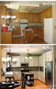 Kitchen Reveal 80s to Awesome via TheKimSixFix.com An outdated oak kitchen with fluorescent lighting and outdated fixtures gets a complete overhaul. Cost breakdown and detailed tutorials are included.