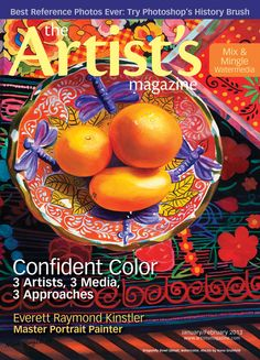 The Jan/Feb issue of The Artist's Magazine, featuring 'Dragonfly Bowl' (detail; watercolor, 40x30) by Nava Grunfeld on the cover. #art #magazines