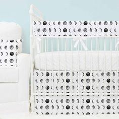 We are totally obsessed with this ultra-modern and on-trend crib bedding collection featuring the phases of the moon! This is the perfect point of takeoff for an outer space-inspired nursery. Woodland Nursery Bedding, Nursery Bedding Sets, Baby Bedding, Outer Space Nursery, Mid Century Rustic, Luxury Sheets, Beds For Sale, Cribs, Crib Bumpers