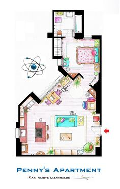 Floor Plans Of Homes From TV Shows - like Big Bang Theory, Wil & Grace, The Simpsons, Golden Girls, Frasier, Three's Company, etc.