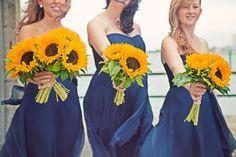 sunflower bouquets for weddings   Sunflower Wedding Flowers Bridesmaids » Cotton Candy Wedding ...