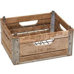wood milk crate - to make at home, get corner brackets from Home Depot.