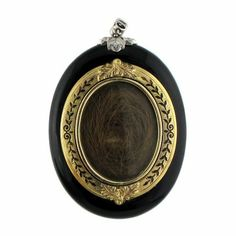 Victorian Onyx & Diamond Mourning Locket with Hair  #artofmourning #mourning #death