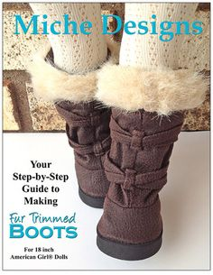 "Fur Trimmed Boots 18"" Doll Shoes Pixie Faire patterns"