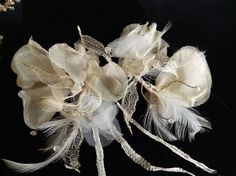 Vintage hair comb. Feathers. Silk. leaves gold. by DesignByIrenne