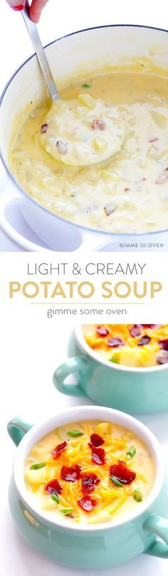 My all-time favorite recipe for classic potato soup! It's simple to make, lightened up with milk instead of cream, and perfectly creamy and delicious