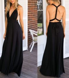 0909e6fbb27f Willingboy Hot Sale NEW Women Fashion Sleeveless Halter Bandage Ball Gown  Dress Multi Worn Elegant Sexy Multiway Convertible Long Dresses(Black)