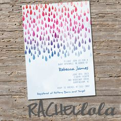 Watercolor Rain Drops Baby Sprinkle or Baby Shower by Rachellola