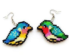 Hama Owl Earrings Mini Perler Beads Mini Hama by 8BitEarrings