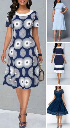 Round Neck Printed Short Sleeve Dress is part of health-fitness - health-fitness Best African Dresses, African Fashion Designers, Latest African Fashion Dresses, African Traditional Dresses, African Print Fashion, Dress Fashion, African Print Dress Designs, The Dress, Ideias Fashion