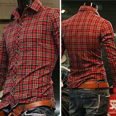 Mens Luxury Casual Slim Fit Stylish Formal Dress Shirts Long sleeve Plaid Shirt in Clothing, Shoes & Accessories, Men's Clothing, Casual Shirts | eBay