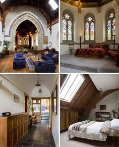 Beautiful old church converted to a house...those stain glass windows are gorgous