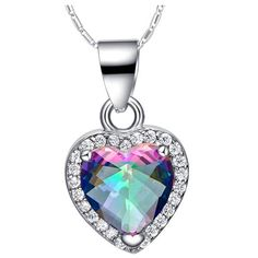 Find More Pendants Information about Heart Crystal Pendant Necklace Pink/Purple/Blue/Red Raibow Fire Mystic Topaz Stone… Sterling Silver Heart Necklace, Silver Pendant Necklace, Crystal Pendant, Crystal Necklace, Crystal Beads, Fashion Jewelry Stores, Fashion Jewelry Necklaces, Charm Jewelry, Fashion Necklace