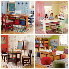 "I believe these photos are from The Land of Nod.  Love the star hooks, floor mat, and in bottom left- the wall mural is interesting.  Looks like it gives kids a place to draw (?) within the ""frames"" on the wall."