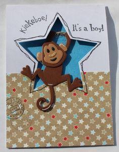 Gemaakt door Joke # Babykaart  - It's a boy met aapje - doorkijkkaartje