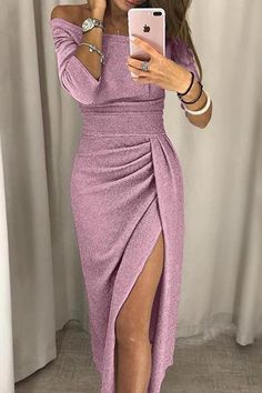 Party Dress 2018 Women Shiny Off Shoulder Ruched Thigh Slit Dress Sexy Club Wrist Sleeve Dress Vestidos, Get together Costume 2018 Ladies Shiny Off Shoulder Ruched Thigh Slit Costume Horny Membership Wrist Sleeve Costume Vestidos Get together Costume Plus Size Party Dresses, Party Dresses For Women, Club Dresses, Fall Dresses, Evening Dresses, Peplum Dresses, Sleeve Dresses, Sequin Dress, Glitter Dress